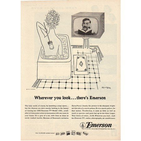 1955 Vintage Print Ad for 1956 Emerson Model 1102 Television TV