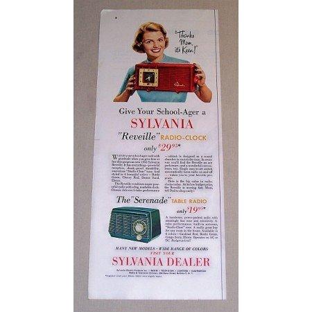 1954 Sylvania Reveille and Serenade Radio Clock Color Print Ad