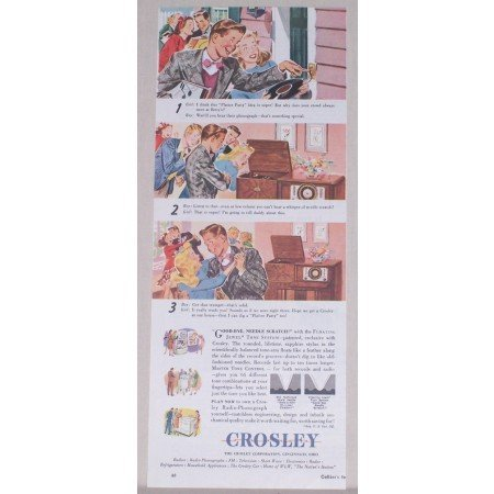 1945 Crosley Floating Jewel Radio Phonograph Color Print Ad