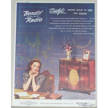 1945 Bendix Radio Color Print Ad - Beyond Belief In Tone