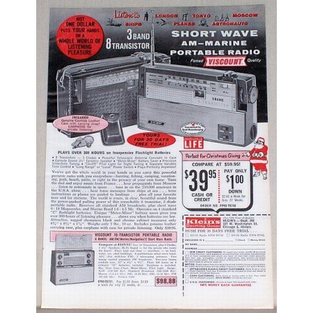 1962 Viscount Short Wave AM Marine Portable Radio Vintage Print Ad