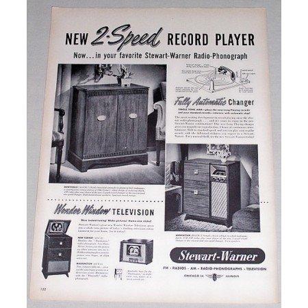 1948 Stewart Warner 2 Speed Record Player Vintage Print Ad