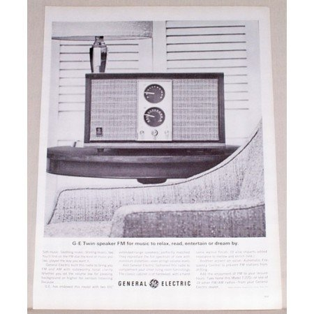 1963 General Electric Twin Speaker AM/FM Radio Vintage Print Ad