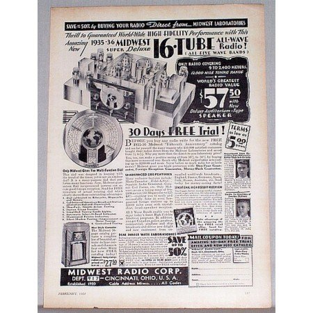 1935 Midwest Super Deluxe 16 Tube All Wave Radio Vintage Print Ad