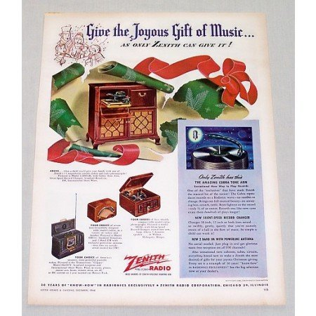 1946 Zenith Model 12H092R Radio Phonograph Color Print Ad