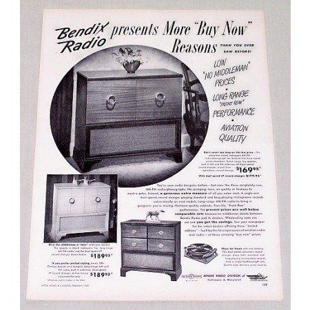 1949 Bendix AM-FM Radio Phonograph Vintage Print Ad