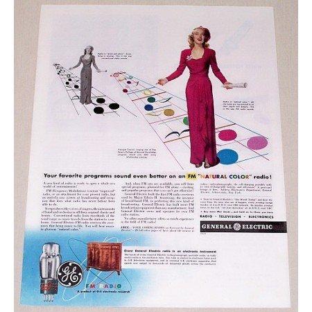 1944 General Electric GE FM Radio Color Ad Celebrity Georgia Carroll