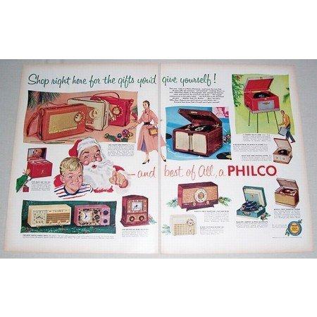 1955 Color 2 Page Print Ad for 1956 Philco Radio Phonograph
