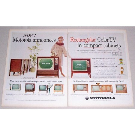 1965 Motorola Rectangular Compact TV 2 Page Color Print Ad