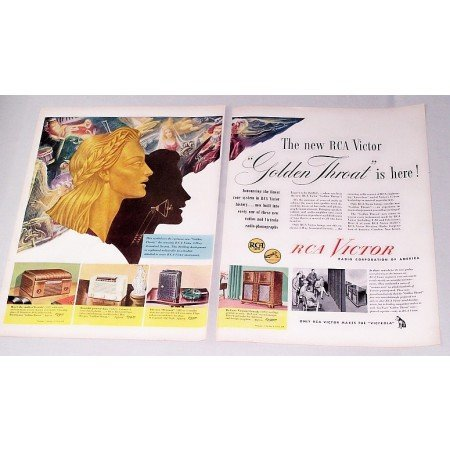 1946 RCA Victor Golden Throat Radios Color 2 Page Print Ad