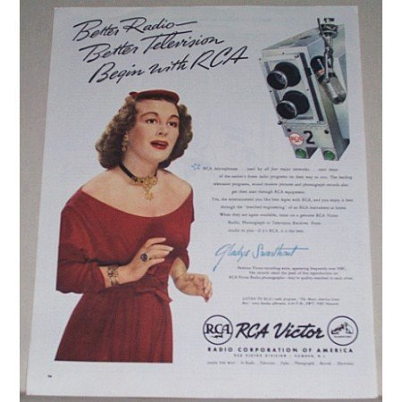 1945 RCA Victor Color Print Ad Celebrity Gladys Swarthoul