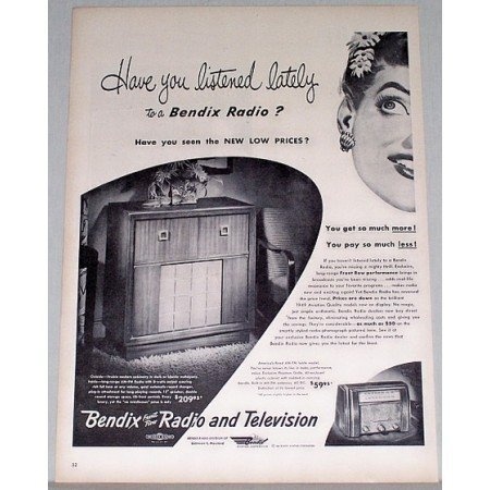 1948 Bendix Cabinet Radio Vintage Print Ad - Have You Listened Lately
