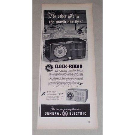 1949 General Electric Model 64 Clock Radio Vintage Print Ad
