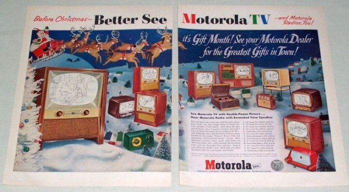 1953 Motorola Televisions Radios Color Christmas Print Ad
