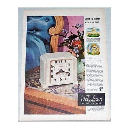 1948 Telechron Little Tel Alarm Electric Clock Color Print Ad