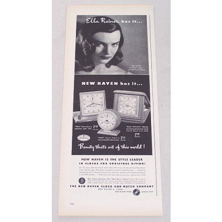1948 New Haven Clocks Vintage Print Ad Celebrity Ella Raines