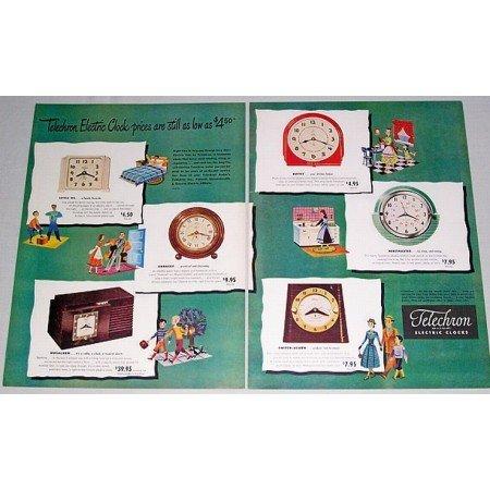 1948 Telechron Electric Clocks 2 Page Color Print Ad