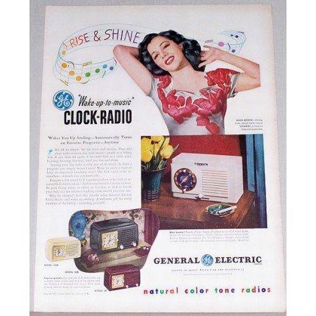 1947 GE Model 62 Clock Radio Color Print Ad Celebrity Maria Montez