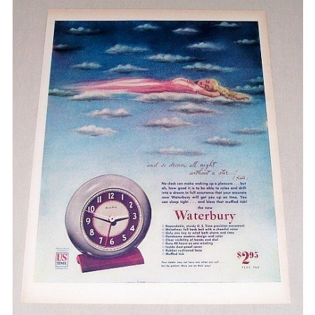1946 Waterbury Alarm Clock Color Print Ad - Dream All Night
