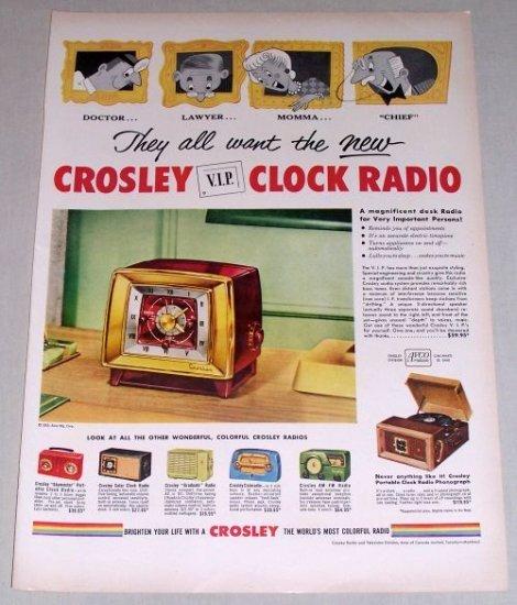 1953 Crosley VIP Clock Radio Color Print Ad