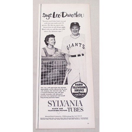 1952 Sylvania TV Tubes Vintage Print Ad Giants Baseball Celebrity Leo Durocher