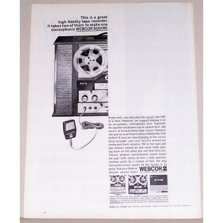 1963 Webcor Squire High Fidelity Tape Recorder Vintage Print Ad