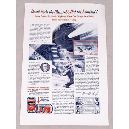 1937 Eveready Battery Vintage Print Ad - Death Rode The Plains