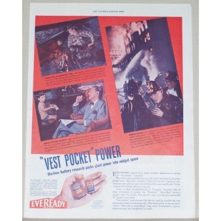 1945 Eveready Long Life Battery Color Print Ad - Mini Max