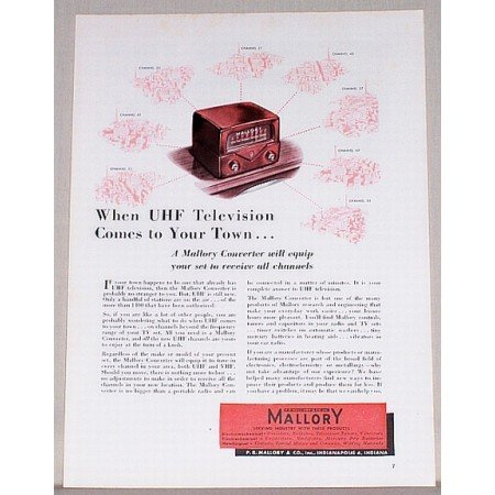 1953 UHF Television Mallory Converter Color Print Ad