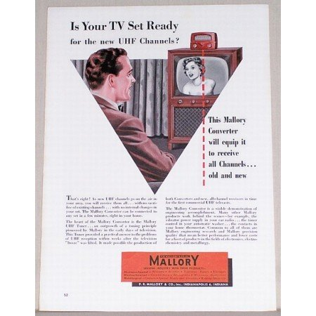 1953 Mallory Converter Color Vintage Print Ad - Is Your TV Set Ready?