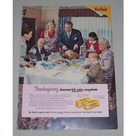 1949 Kodak Kodachrome Film Thanksgiving Art Color Print Ad