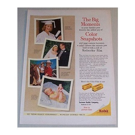 1955 Kodak Kodacolor Film Color Print Ad - The Big Moments