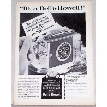 1953 Bell Howell 200 Movie Camera Vintage Print Ad