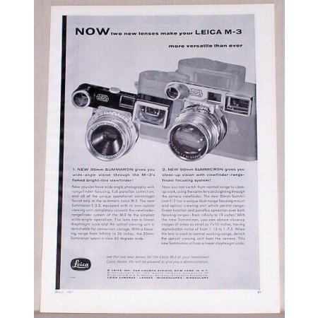 1957 Leica M-3 Cameras Vintage Print Ad - Two New Lenses