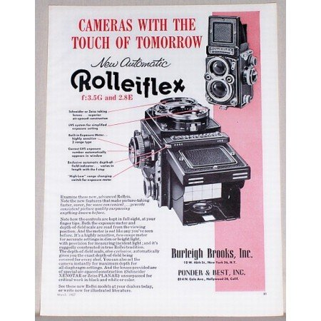 1957 Rolleiflex Automatic Camera Vintage Print Ad