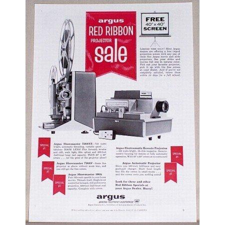 1961 Argus Projectors Vintage Print Ad - Red Ribbon Sale