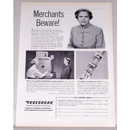 1955 Recordak Microfilming ID Vintage Print Ad - Merchants Beware