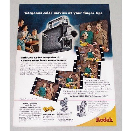 1949 Cine Kodak Magazine 16 Movie Camera Color Print Ad
