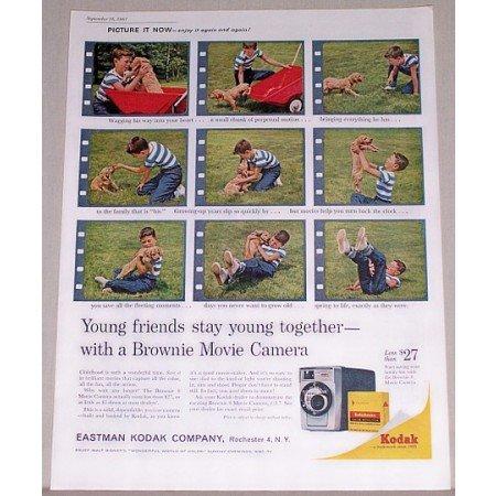 1961 Kodak Brownie 8 Movie Camera Color Print Ad - Young Friends
