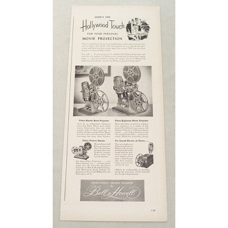 1948 Bell & Howell 8mm 16mm Movie Projection Vintage Print Ad