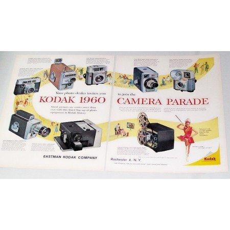 1960 Kodak Cameras Projectors 8 Models 2 Page Color Print Ad