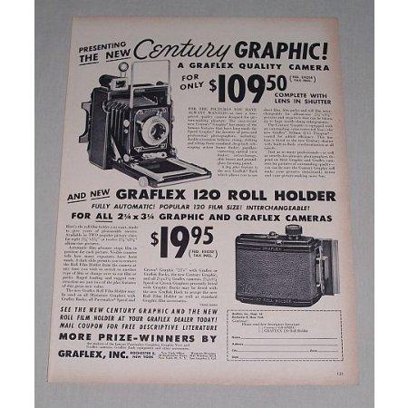 1949 Century Graflex Camera Graflex 120 Roll Holder Vintage Print Ad
