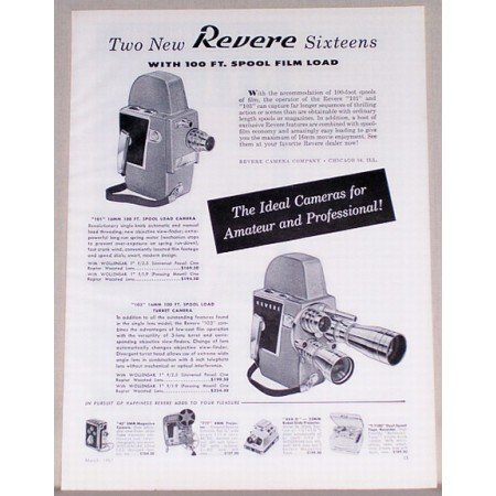 1957 Revere 101 and 103 Spool Load Cameras Vintage Print Ad