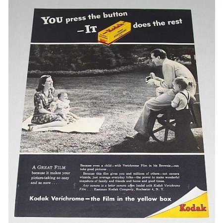 1946 Kodak Verichrome Film Vintage Print Ad - You Press The Button