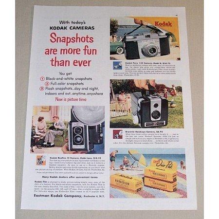 1954 Kodak Cameras Color Print Ad - Pony Brownie Duaflex III