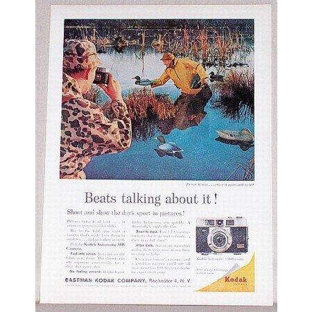1961 Kodak Automatic 35B Camera Duck Hunting Decoy Color Print Ad