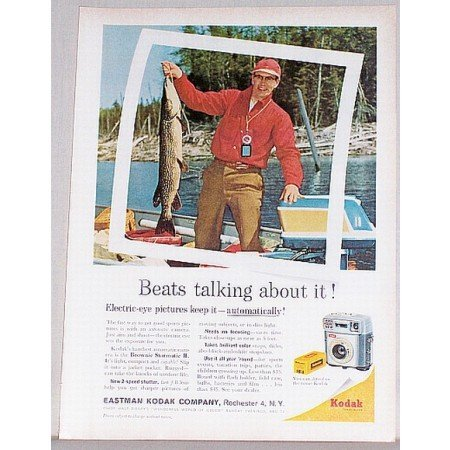 1962 Kodak Brownie Starmatic II Camera Color Fishing Print Ad