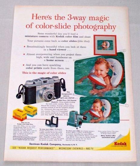 1955 Eastman Kodak Model B Pony Camera Color Print Ad