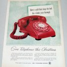 1957 Bell Telephone System Color Print Ad GIVE TELEPHONES FOR CHRISTMAS