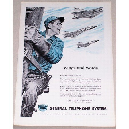 1955 General Telephone System Color Pole Climber Lineman Art Vintage Print Ad - Wings And Word